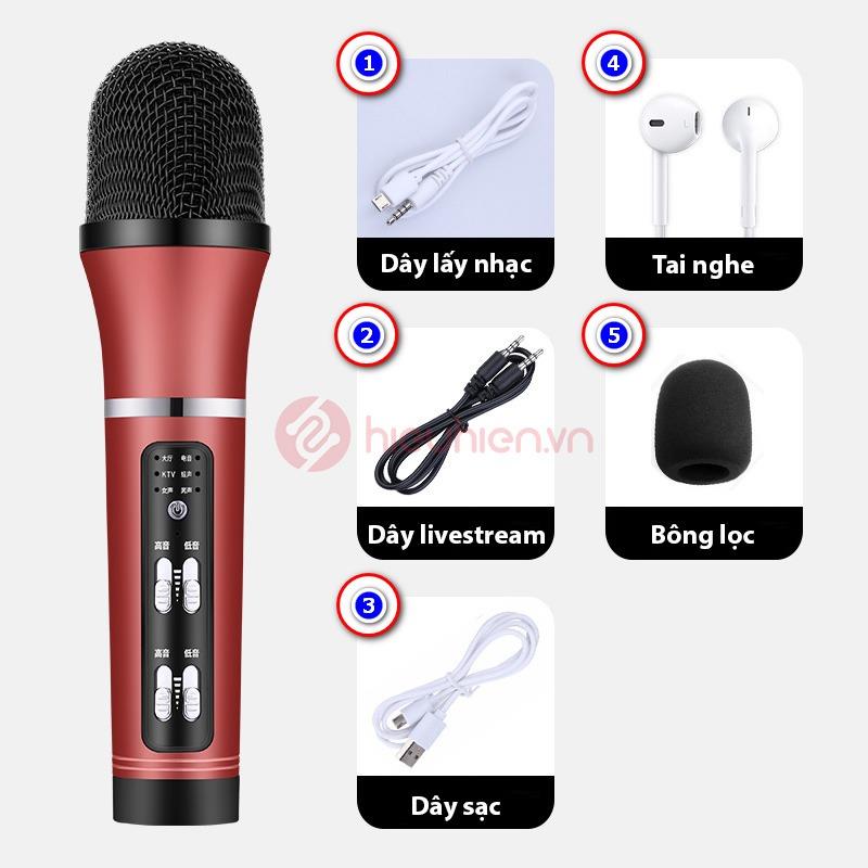 micro thu âm livestream c25 giá rẻ - trọn bộ sản phẩm - màu đỏ