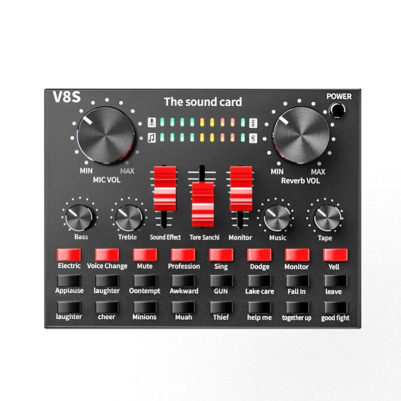 sound card v8s có bluetooth, pin sạc - thu âm hát livestream karaoke