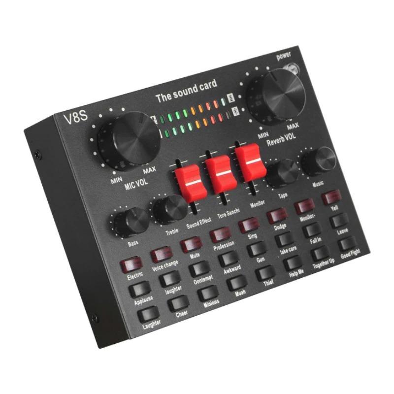 sound card v8s bluetooth - thu âm hát livestream karaoke - thiết kế hiện đại, dễ sử dụng