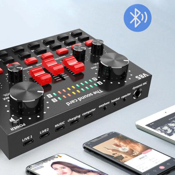 sound card v8s bluetooth - thu âm hát livestream karaoke - 2 điện thoại live