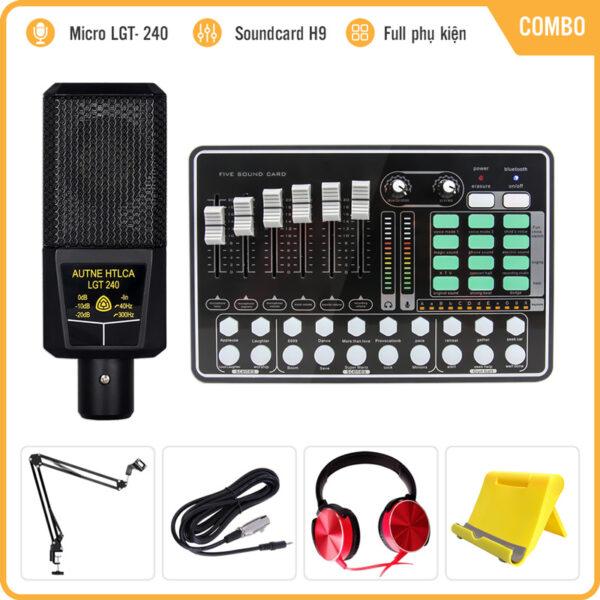 Trọn Bộ Mic Thu Âm Livestream LGT 240 Kèm Sound Card H9 Auto Tune