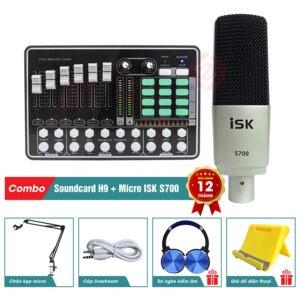 combo mic thu âm livestream isk s700 kèm sound card h9 bluetooth