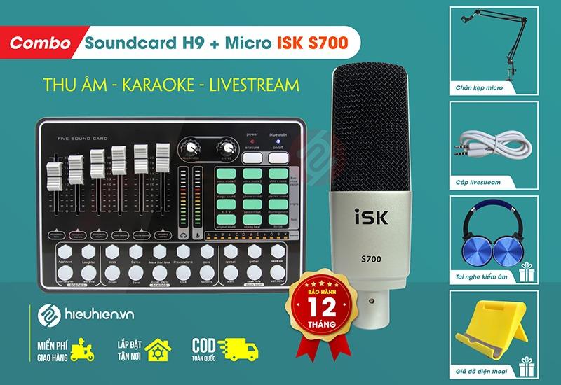 combo mic thu âm livestream isk s700 kèm sound card h9 bluetooth - chính hãng