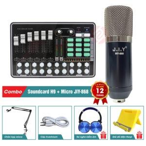 bộ combo mic thu âm livestream jiy 868 kèm soundcard h9 chính hãng