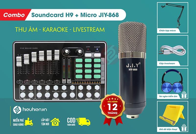 bộ combo mic thu âm livestream jiy 868 kèm soundcard h9 + trọn bộ phụ kiện - chính hãng, giá rẻ