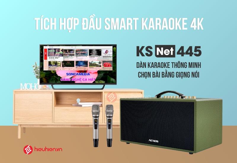 Dàn Âm Thanh Di Động ACNOS KSNet445 - Tích hợp đầu Android Karaoke 4K, Chọn Bài Bằng Giọng Nói