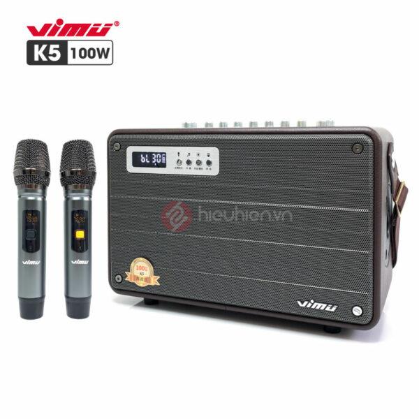 Loa Karaoke Xách Tay VIMU K5 - Công Suất 100W, Kèm 2 Micro, Bản New 2021