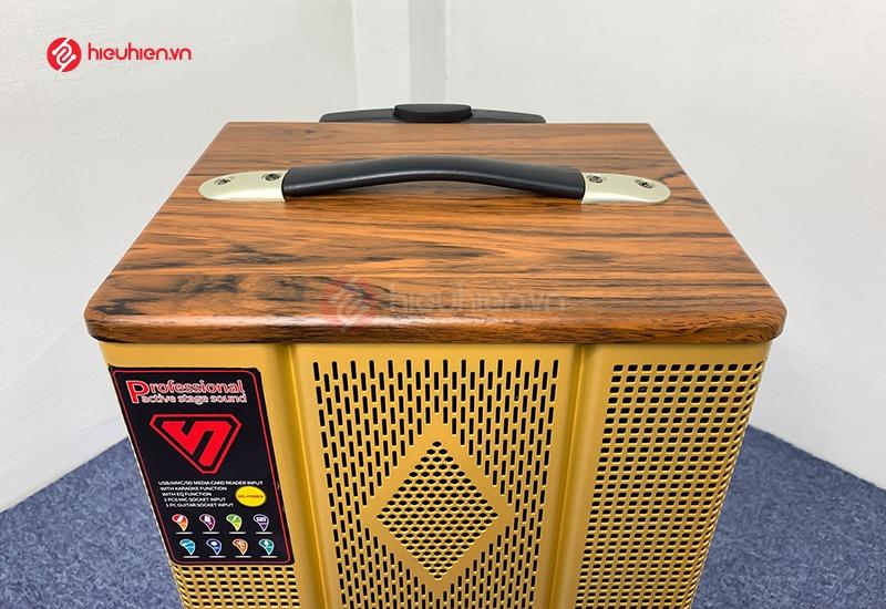 loa kéo karaoke ShengYou YS108, thiết kế thùng gỗ có quai xách tiện lợi