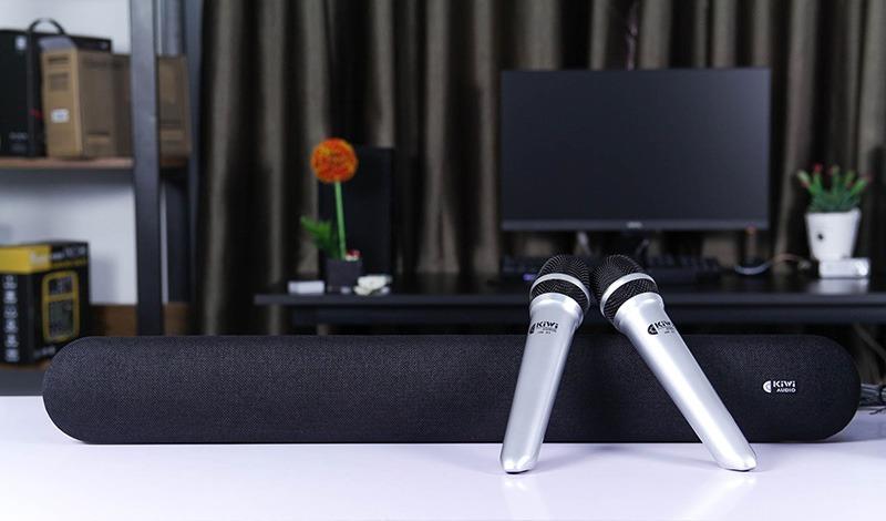 loa soundbar kiwi hk01 kèm sub và 2 micro - hát karaoke cực hay - hình 02