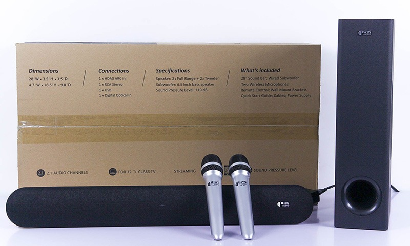 loa soundbar kiwi hk01 kèm sub và 2 micro - hát karaoke cực hay - hình 08 hộp sản phẩm