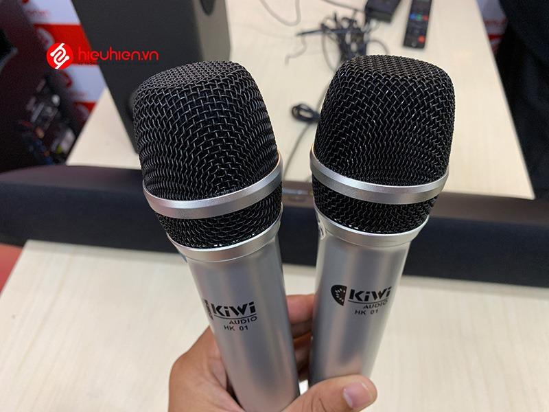 kiwi hk01 loa soundbar karaoke chính hãng - 2 mic không dây hát hay, chống hú