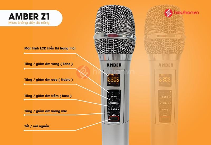 Micro không dây Amber Z1, không dây đa năng với nhiều chế độ chỉnh âm và chống hú cực tốt