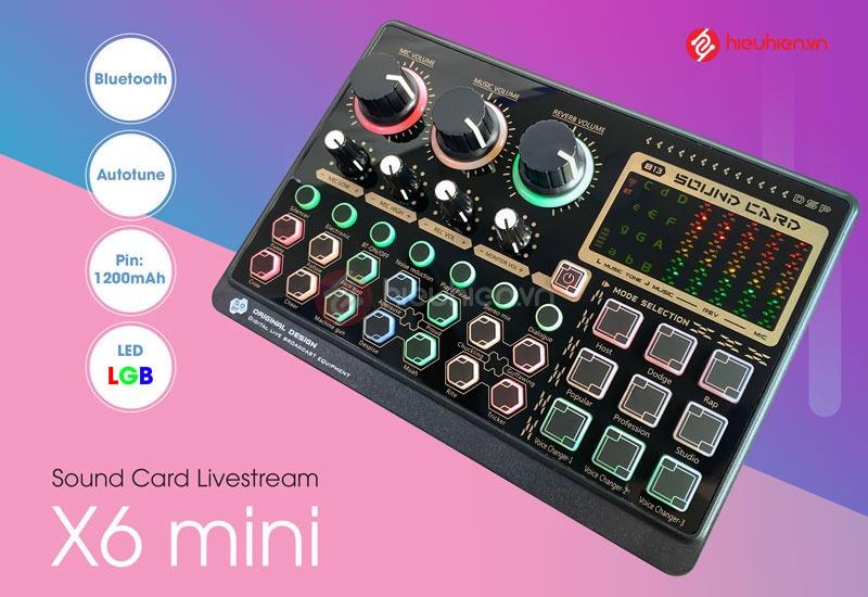 Sound Card Livestream X6mini - Card âm thanh tích hợp Bluetooth, Autotune