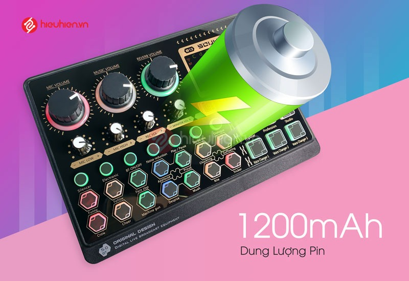 Sound Card Livestream X6mini tích hợp pin dung lượng 1200mah