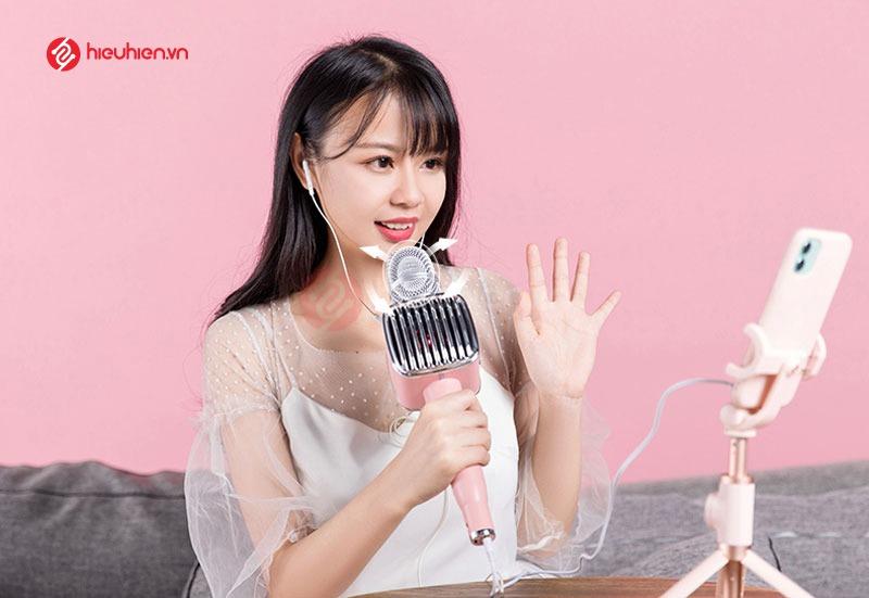 top 7 mẫu micro karaoke kèm loa bluetooth hay nhất hiện nay - tosing g1 màu hồng