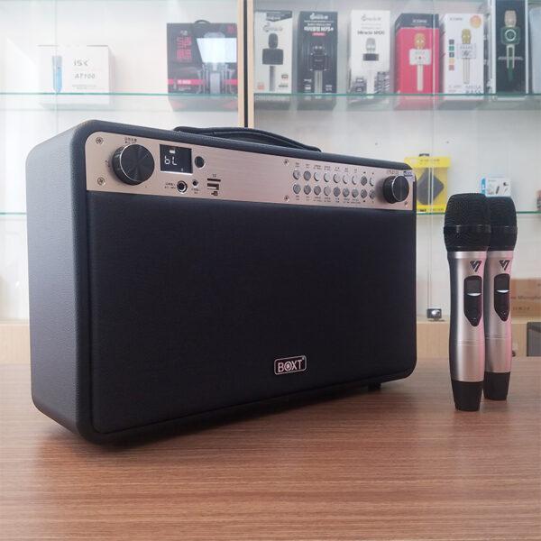 Loa kéo karaoke di động BOXT Q9S, kèm 2 micro không dây hát cực hay