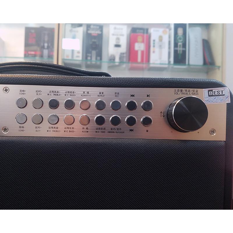 loa karaoke xách tay boxt q9s chính hãng - các nút điều khiển âm thanh loa và micro