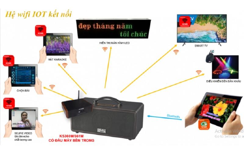 loa karaoke xach tay acnos ks360ms điều khiển app điện thoại