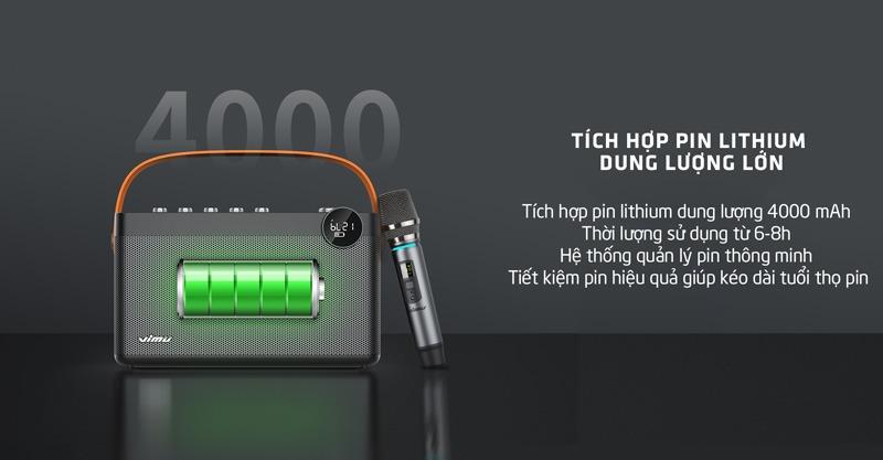 Vimu H8 sử dụng lithium với dung lượng 4000 mAh, thời gian sử dụng 6 đến 8 giờ