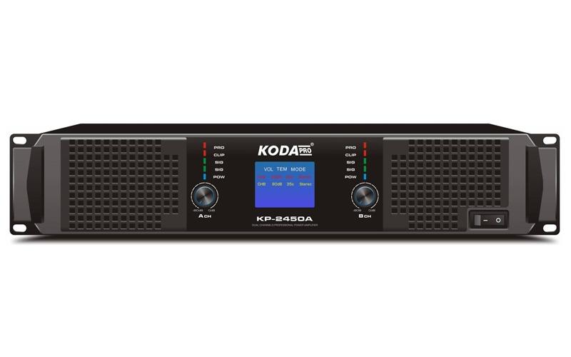 cục công suất 2 kênh koda kp-2450a mặt trước màn hình led