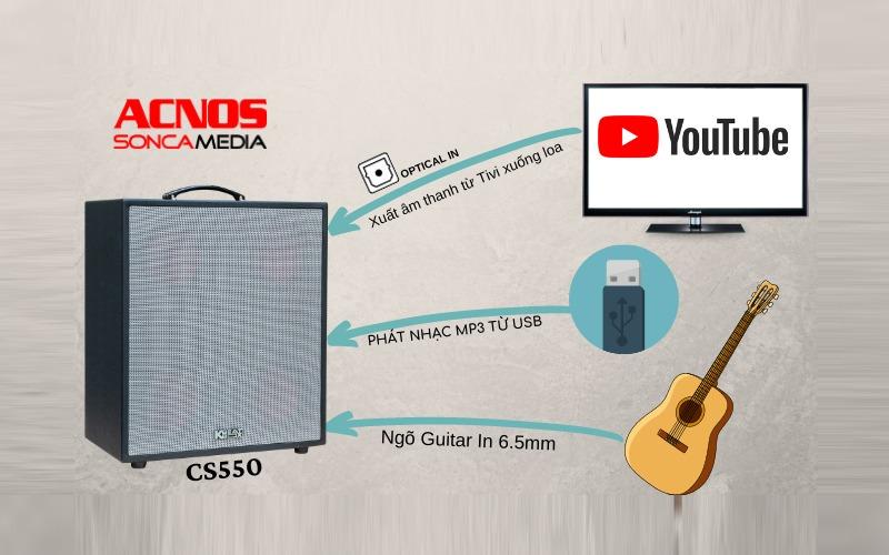 loa karaoke di đông acnos cs550 kết nối nhạc cụ