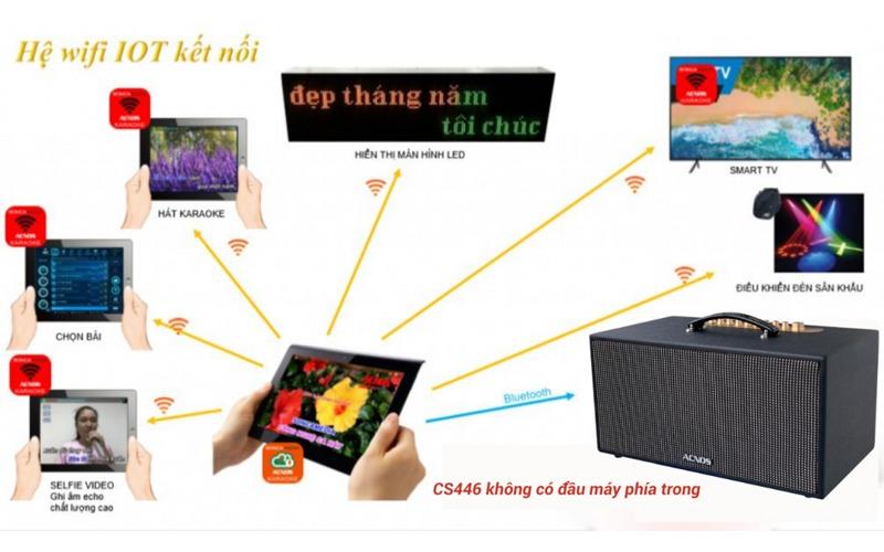 loa karaoke xách tay acnos cs446 chọn bài hát trên điện thoại