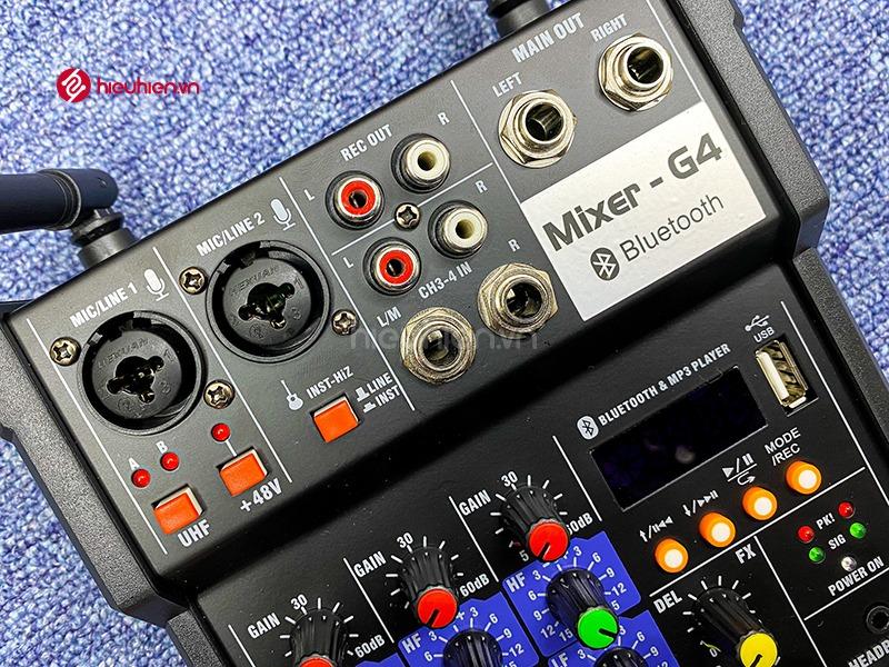 bộ mixer g4 chỉnh âm thanh kết nối hát karaoke ra loa ngoài hình 6