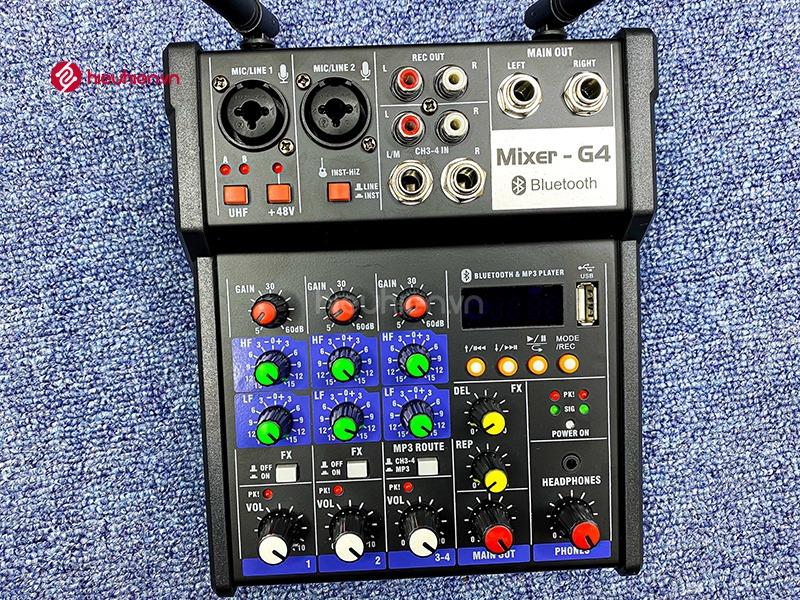 bộ mixer g4 chỉnh âm thanh kết nối hát karaoke ra loa ngoài hình 9