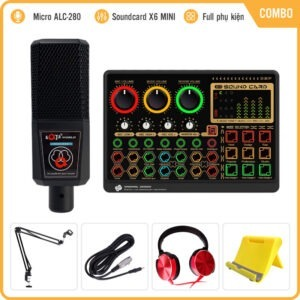 Bộ Mic Livestream Soundcard X6mini Kèm Micro ALC-280