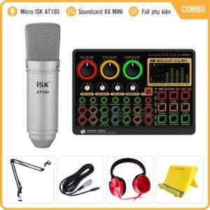 Combo Mic Livestream Soundcard X6mini Kèm Micro AT100 - Chính Hãng