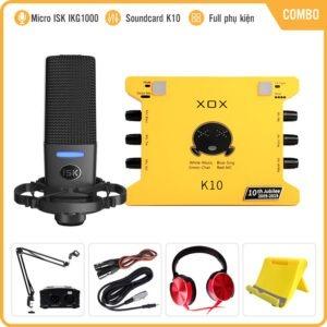 Combo Sound Card K10th Kèm Micro ISK IKG1000 – Thu âm, Hát Livestream